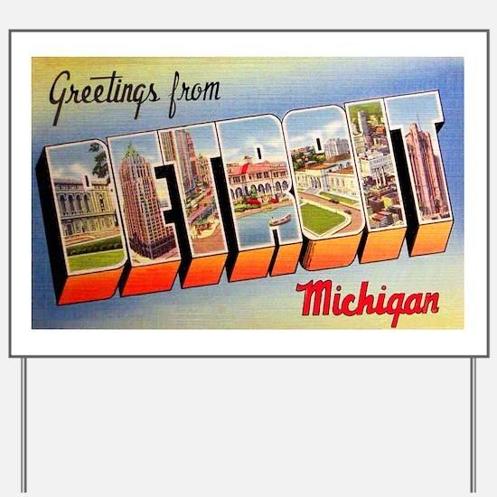 Detroit Michigan Greetings Yard Sign