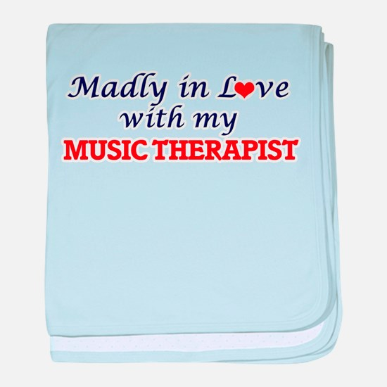 Madly in love with my Music Therapist baby blanket