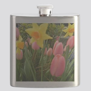 Spring pink tulip, yellow daffodil flowers p Flask