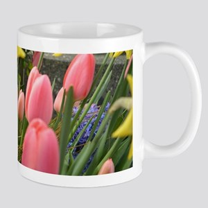 Spring pink tulip, yellow daffodil flowers ph Mugs
