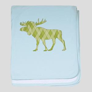 Green Moose baby blanket