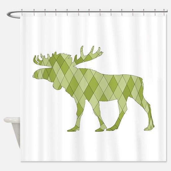 Green Moose Shower Curtain