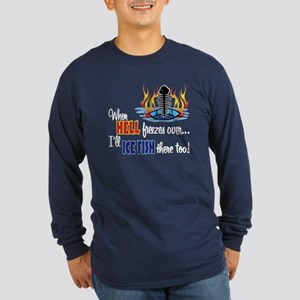 When Hell Freezes Ice Fish Long Sleeve Dark T-Shir