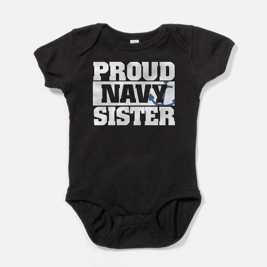 Proud Navy Sister Baby Bodysuit
