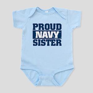 Proud Navy Sister Baby Light Bodysuit