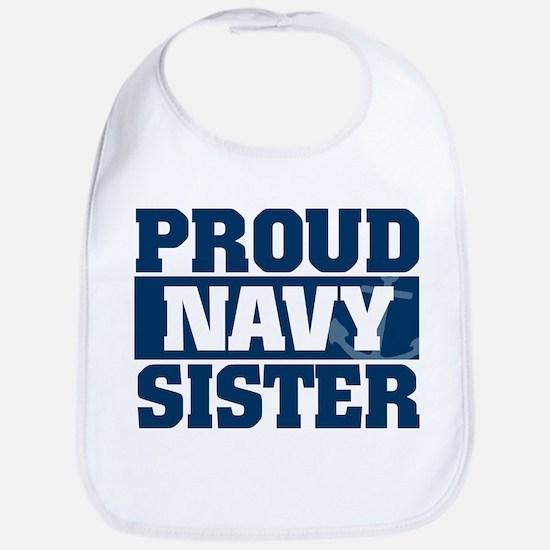 Proud Navy Sister Cotton Baby Bib