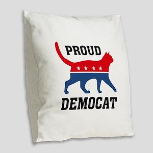 Proud Democat Burlap Throw Pillow