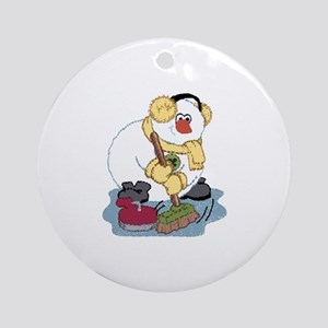 Snowman Curling Ornament (Round)