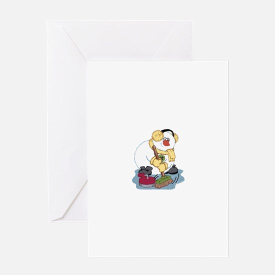 Snowman Curling Greeting Card