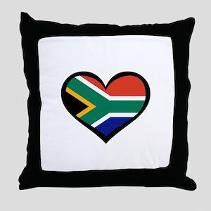 South Africa Love Heart Throw Pillow