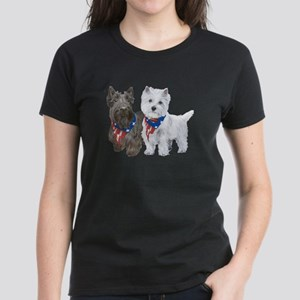 Scottie and Westie Patriotic Women's Dark T-Shirt