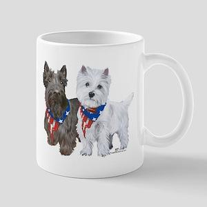 Scottie and Westie Patriotic Mug