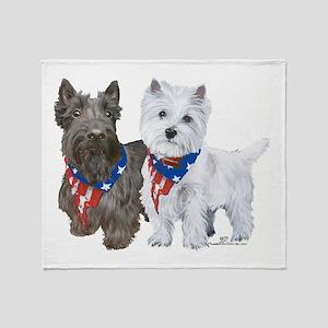 Scottie and Westie Patriotic Throw Blanket
