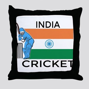 India Cricket Throw Pillow