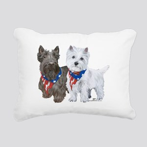 Scottie and Westie Patri Rectangular Canvas Pillow