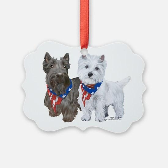 Scottie and Westie Patriotic Ornament