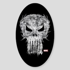 Punisher Skull Scratchy Sticker (Oval)