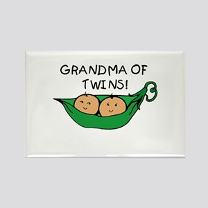 Grandma of Twins Pod Rectangle Magnet