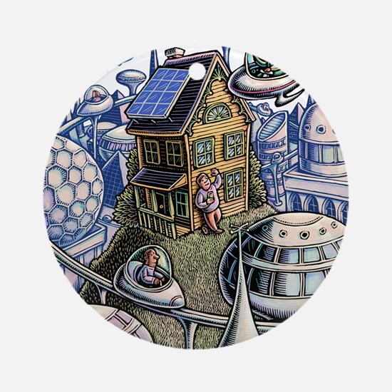 City of the Future, with Old House Round Ornament
