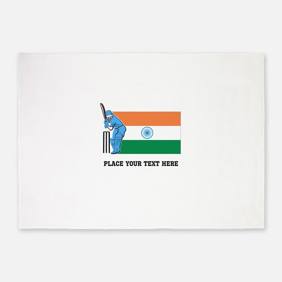 Personalize India Cricket 5'x7'Area Rug