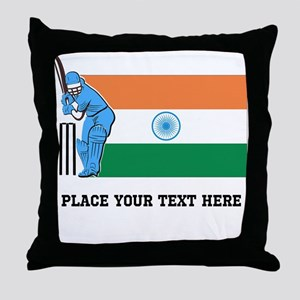 Personalize India Cricket Throw Pillow