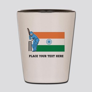 Personalize India Cricket Shot Glass