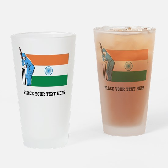 Personalize India Cricket Drinking Glass