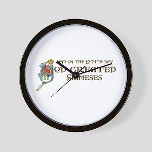 God Created Siameses Wall Clock