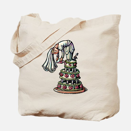 Bride Decorates Her Own Wedding Cake Tote Bag
