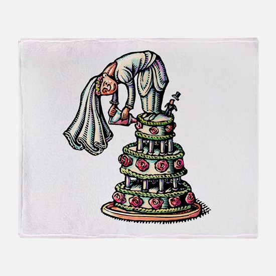 Bride Decorates Her Own Wedding Cake Throw Blanket