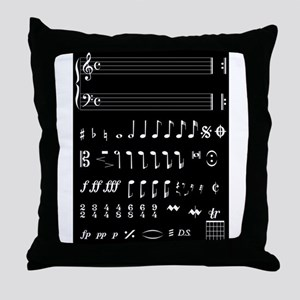 Musical Notation Negative Throw Pillow