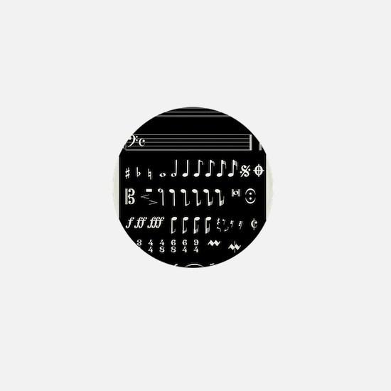 Musical Notation Negative Mini Button