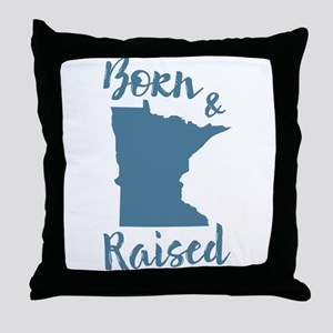 Minnesota - Born & Raised Throw Pillow
