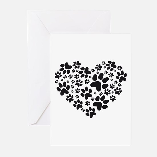 black heart with paws, animal foodprint pattern Gr