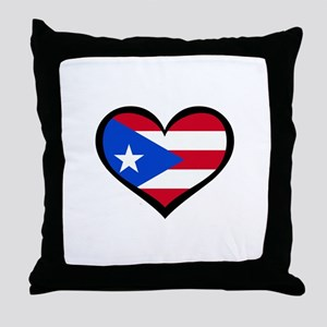 Puerto Rico Love Heart Throw Pillow