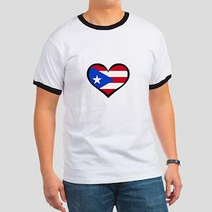Puerto Rico Love Heart Ringer T