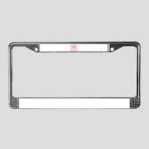 pinnk flower License Plate Frame