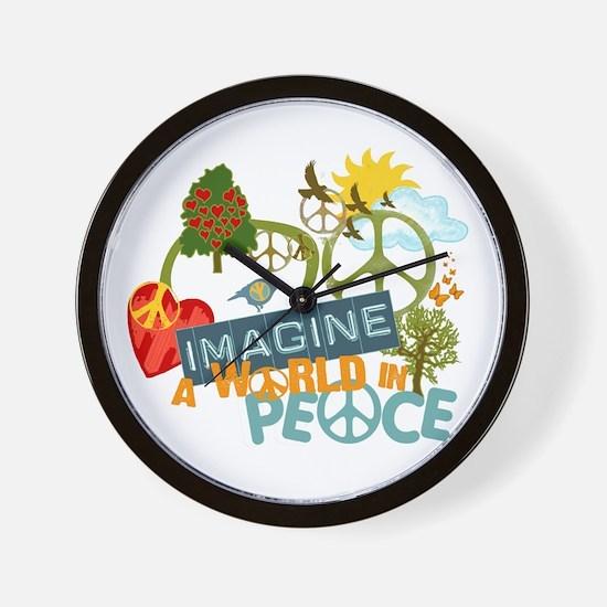 Imagine Peace Abtract Art Wall Clock