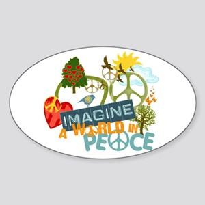 Imagine Peace Abtract Art Oval Sticker