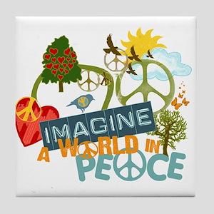 Imagine Peace Abtract Art Tile Coaster