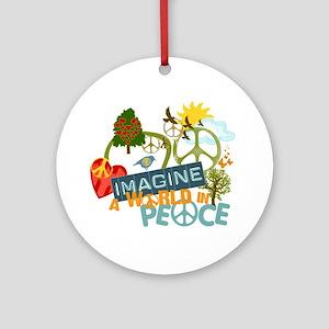 Imagine Peace Abtract Art Ornament (Round)