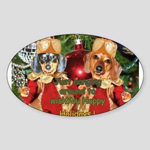 Christmas Bulb Dogs Oval Sticker