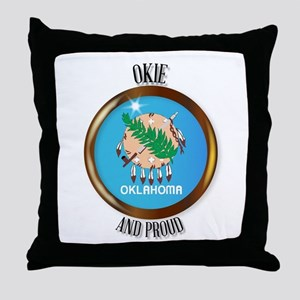 Oklahoma Proud Flag Button Throw Pillow