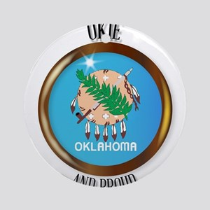 Oklahoma Proud Flag Button Round Ornament