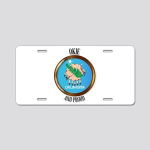 Oklahoma Proud Flag Button Aluminum License Plate