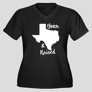 Texas - Born Women's Plus Size V-Neck Dark T-Shirt