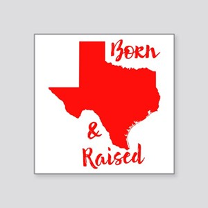 "Texas - Born & Raised Square Sticker 3"" x 3"""