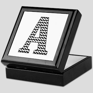 Black and White Chevron Letter A Mono Keepsake Box