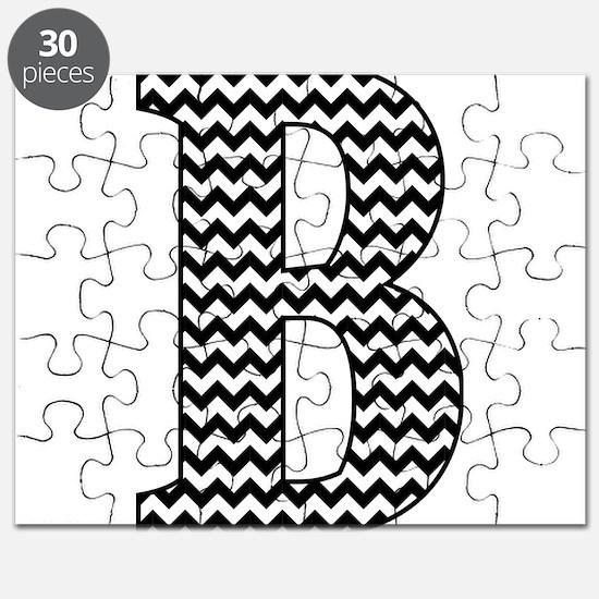 Black and White Chevron Letter B Monogram Puzzle