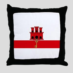 Flag Of Gibraltar Throw Pillow